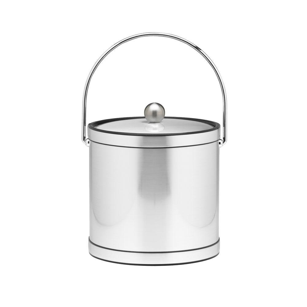 Kraftware 3 Qt. Brushed Chrome Mylar Ice Bucket with Chrome Bale Handle, Bands and Metal Cover