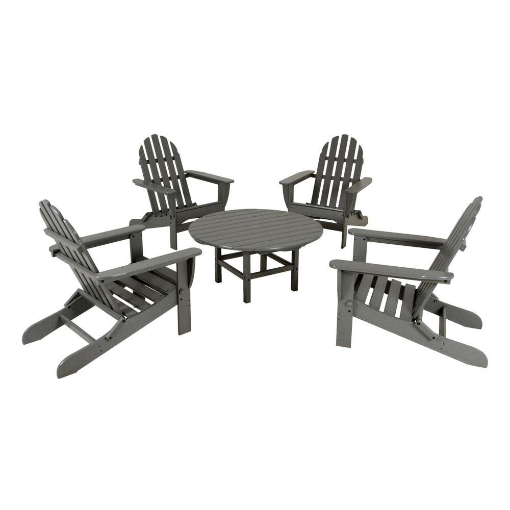 Classic Slate Grey 5-Piece Folding Adirondack Patio Conversation Set
