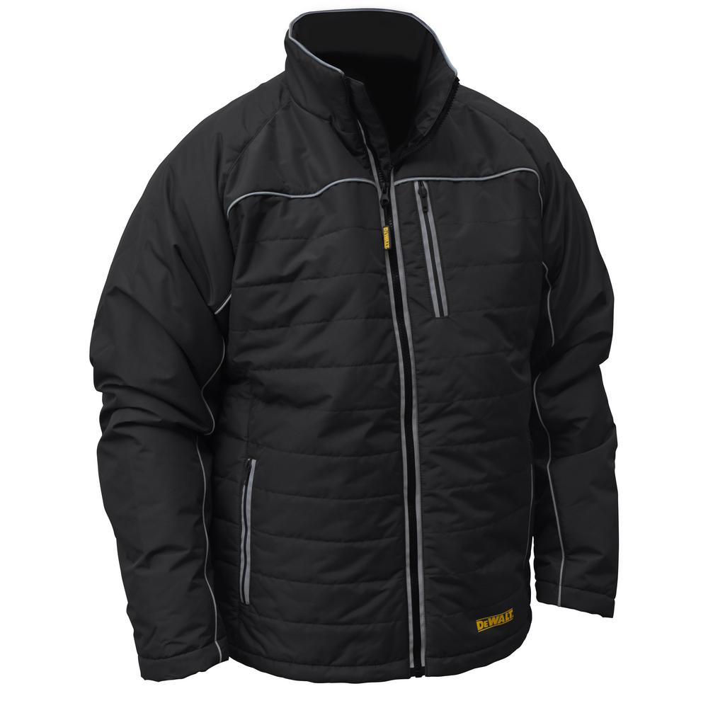 Mens Medium Black Quilted Polyfil Heated Jacket with 20-Volt/2.0 AMP Battery