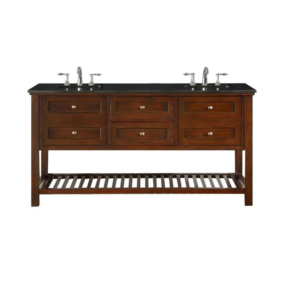 Direct vanity sink Mission Spa 70 inch Double Vanity in Dark Brown with Granite Vanity Top in Black with White Basin by Direct vanity sink