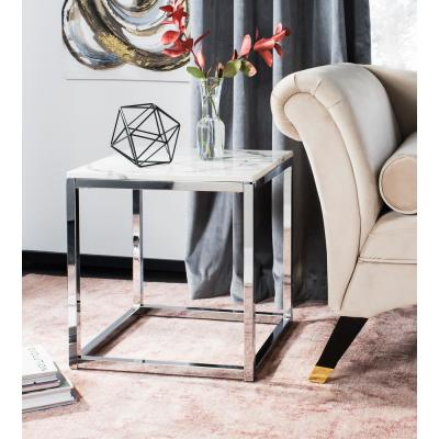 Bethany White Marble and Chrome End Table