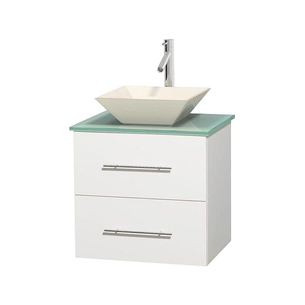 Wyndham Collection Centra 24 in. Vanity in White with Glass Vanity Top in Green and Bone Porcelain Sink