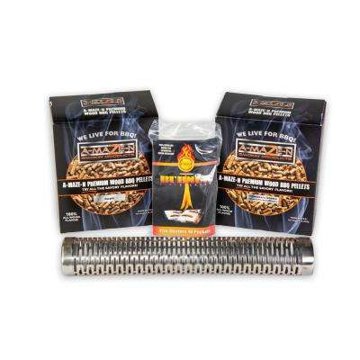 Smoker Combo Pack 12 in. Tube, Pitmasters Choice Pellets, Apple Pellets and Fire Starter 10 Packets