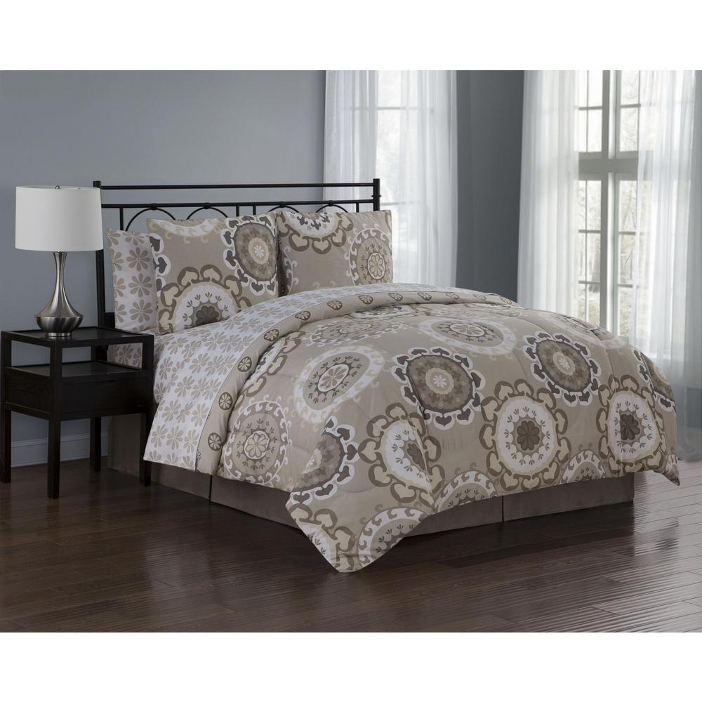 Elsa BIAB 8-Piece Taupe King Comforter