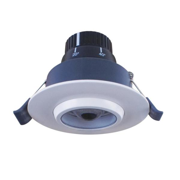 3-3/8 in. 4000K Bright White Integrated LED Recessed Gimball Light Matte White Trim