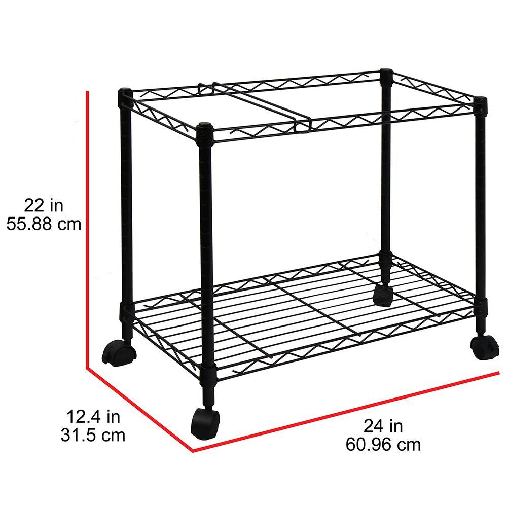File Cart,Rolling Metal File Organizer Single Tier File Storage Mobile Office File Cart with Swivel Wheels Office Furniture Black