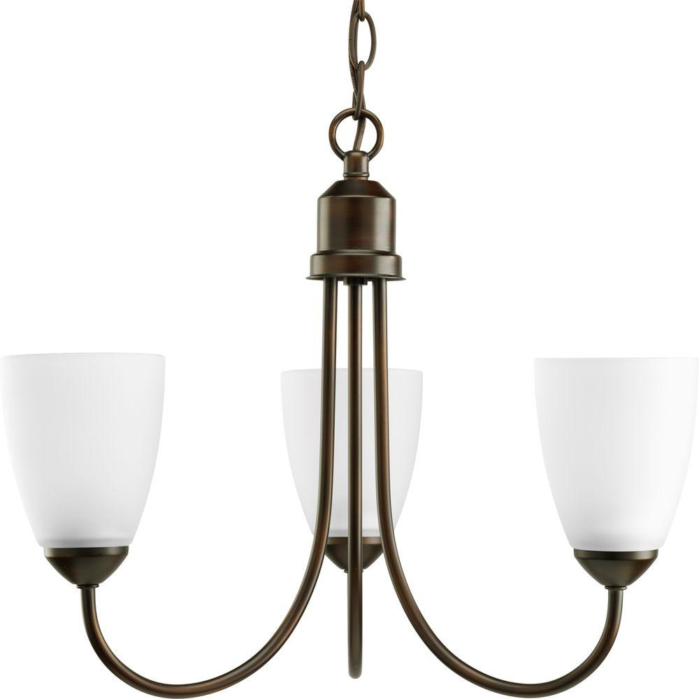 Gather Collection 3-Light Antique Bronze Chandelier with Shade with Etched Glass