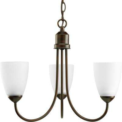 Gather 3-Light Antique Bronze Chandelier with Etched Glass Shade