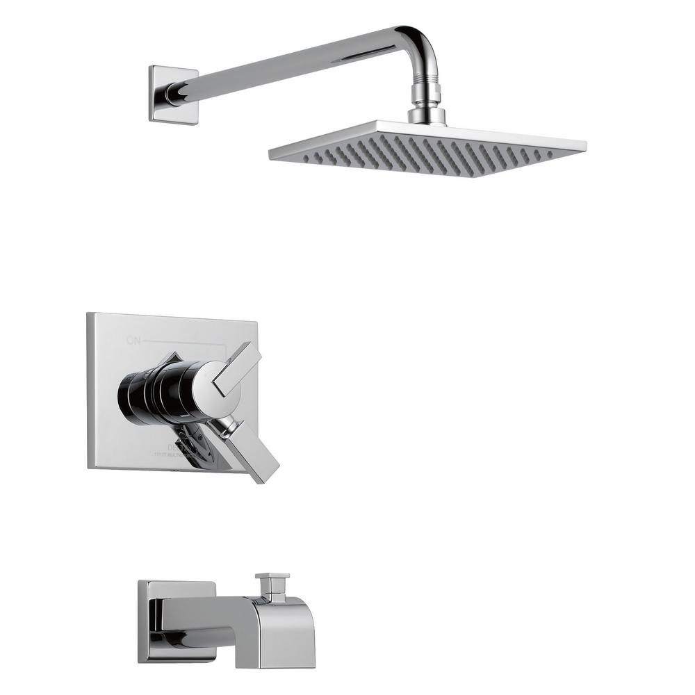 Delta Vero 1 Handle Tub And Shower Faucet Trim Kit In Chrome Valve Not Included