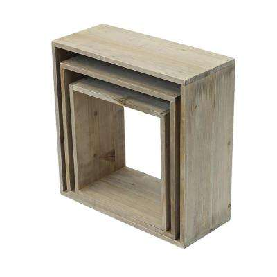 14 in. W x 6 in. D Nested Weathered Gray Decorative Shelves