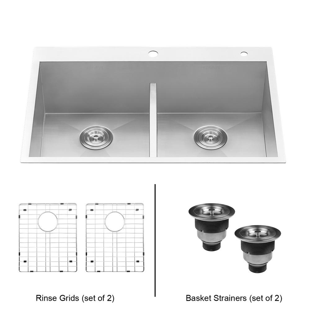 Ruvati 33 in. Double Bowl 50/50 Low Divide Drop-in 16-Gauge Stainless Steel  Top Mount Kitchen Sink