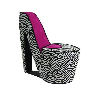 Pink Zebra Storage Slipper Chair