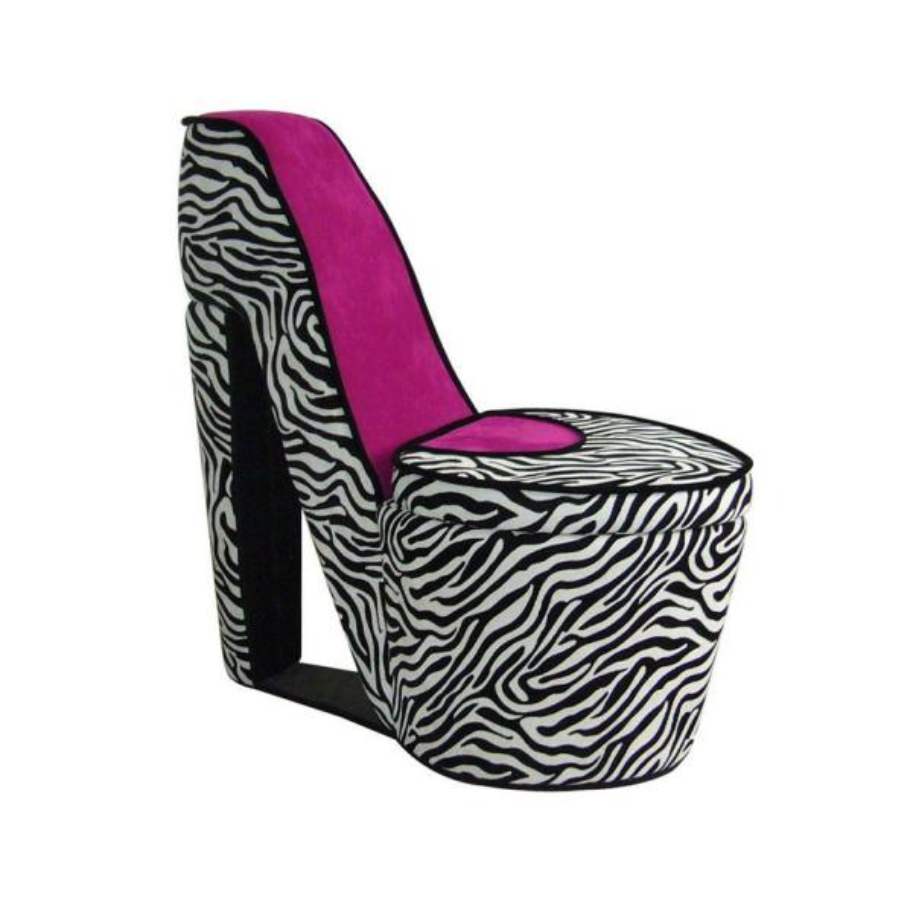 ORE International Pink Zebra Storage Slipper Chair
