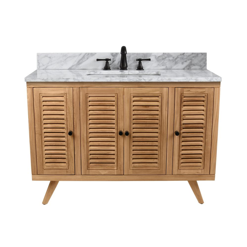 Harper 49 in. Vanity in Natural Teak with Carrera White Basin