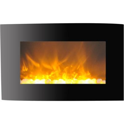 Fireside 35 in. Wall-Mount Electric Fireplace with Curved Panel and Crystal Rocks
