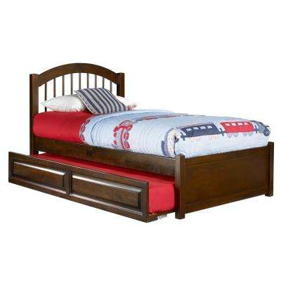 Windsor Twin Platform Bed with Flat Panel Footboard and Twin Size Raised Panel Trundle Bed in Walnut