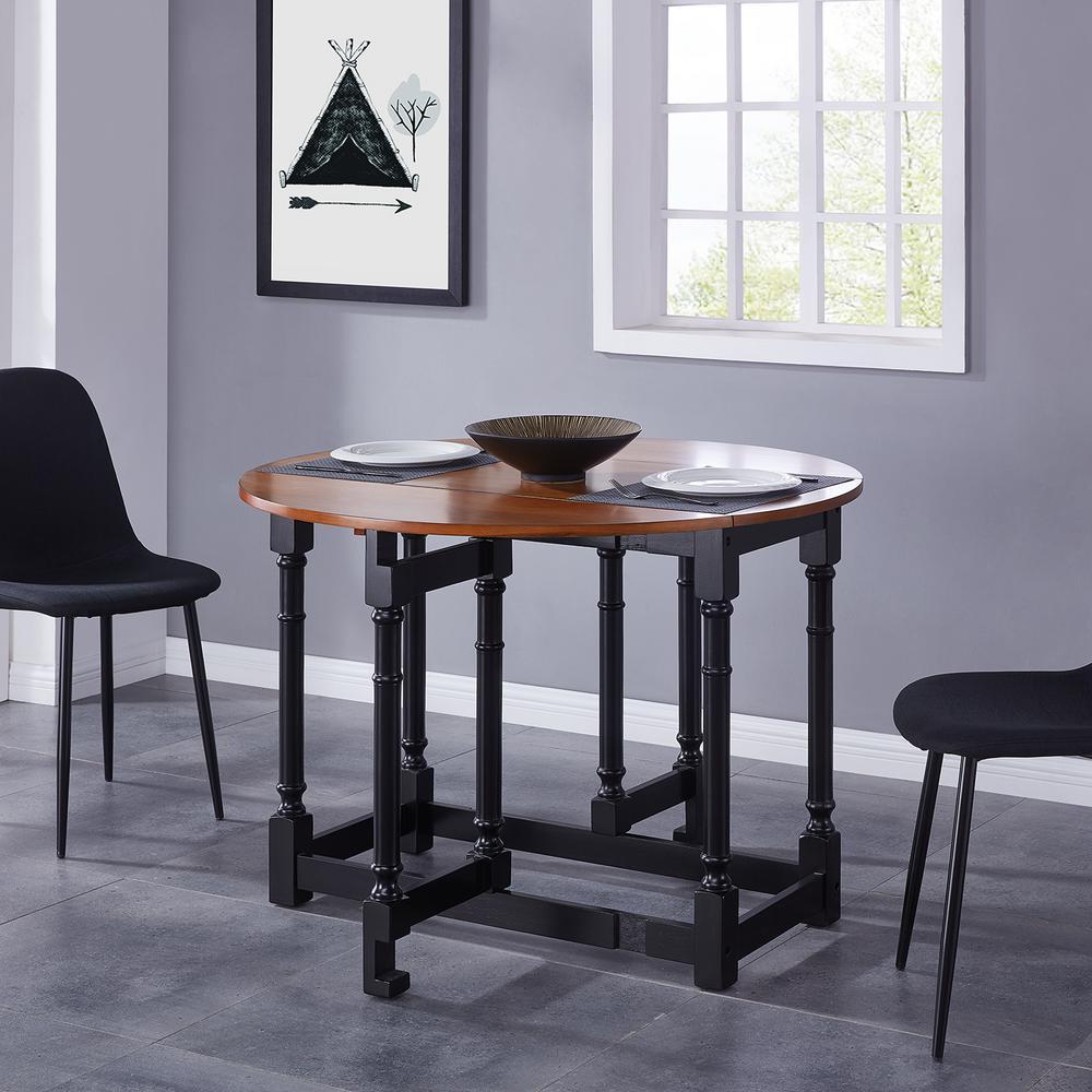 Challa 1-Piece Black Drop-Leaf Dining Table