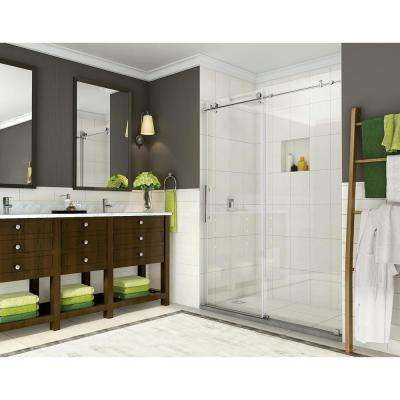 Coraline 56 in. to 60 in. x 76 in. Frameless Sliding Shower Door in Stainless Steel