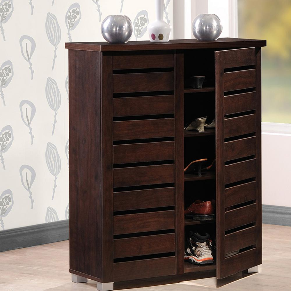 Adalwin Dark Brown Tall Storage Cabinet