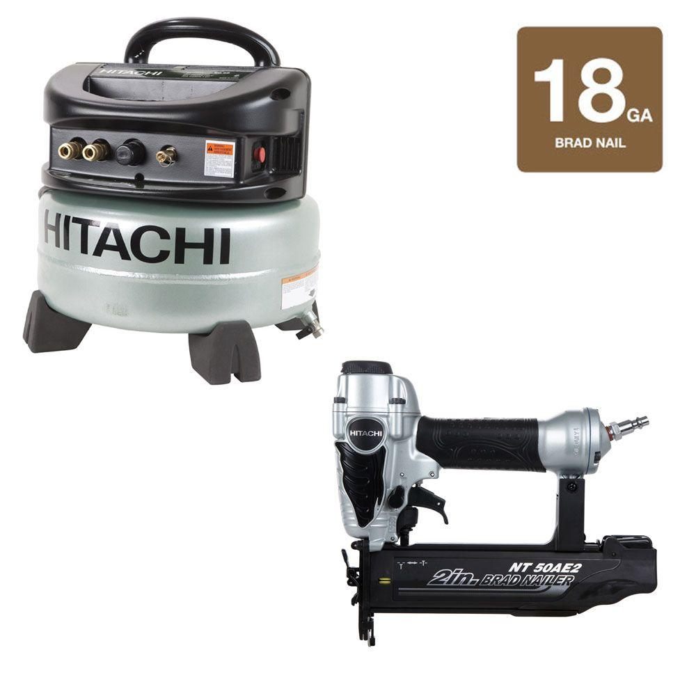 Hitachi 2 in. x 18-Gauge Finish Nailer and 6 Gal. Oil-Free Pancake Compressor Kit (2-Piece)