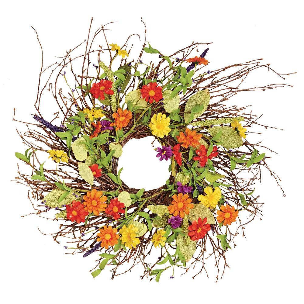 Worth Imports 24 in. Mixed Flower Wild Wreath