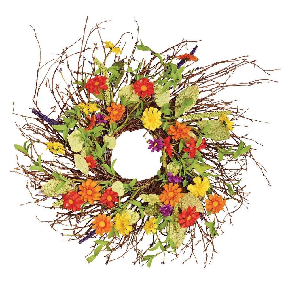 24 in. Mixed Flower Wild Wreath