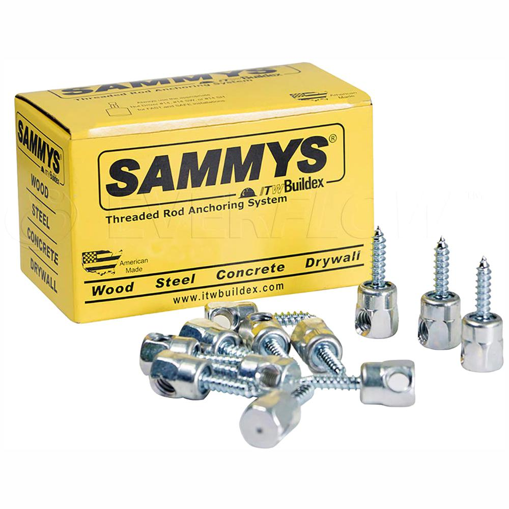Sammy 1/4 in. x 3 in. Horizontal Rod Anchor Super Screw 3/8 in. Threaded Rod Fitting for Wood (25-Pack)