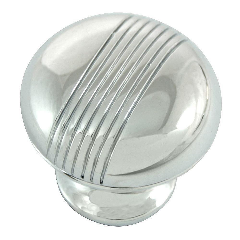 1.25 in. Polished chrome Striped Knob