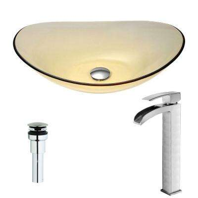 Mesto Series Deco-Glass Vessel Sink in Lustrous Translucent Gold with Key Faucet in Brushed Nickel