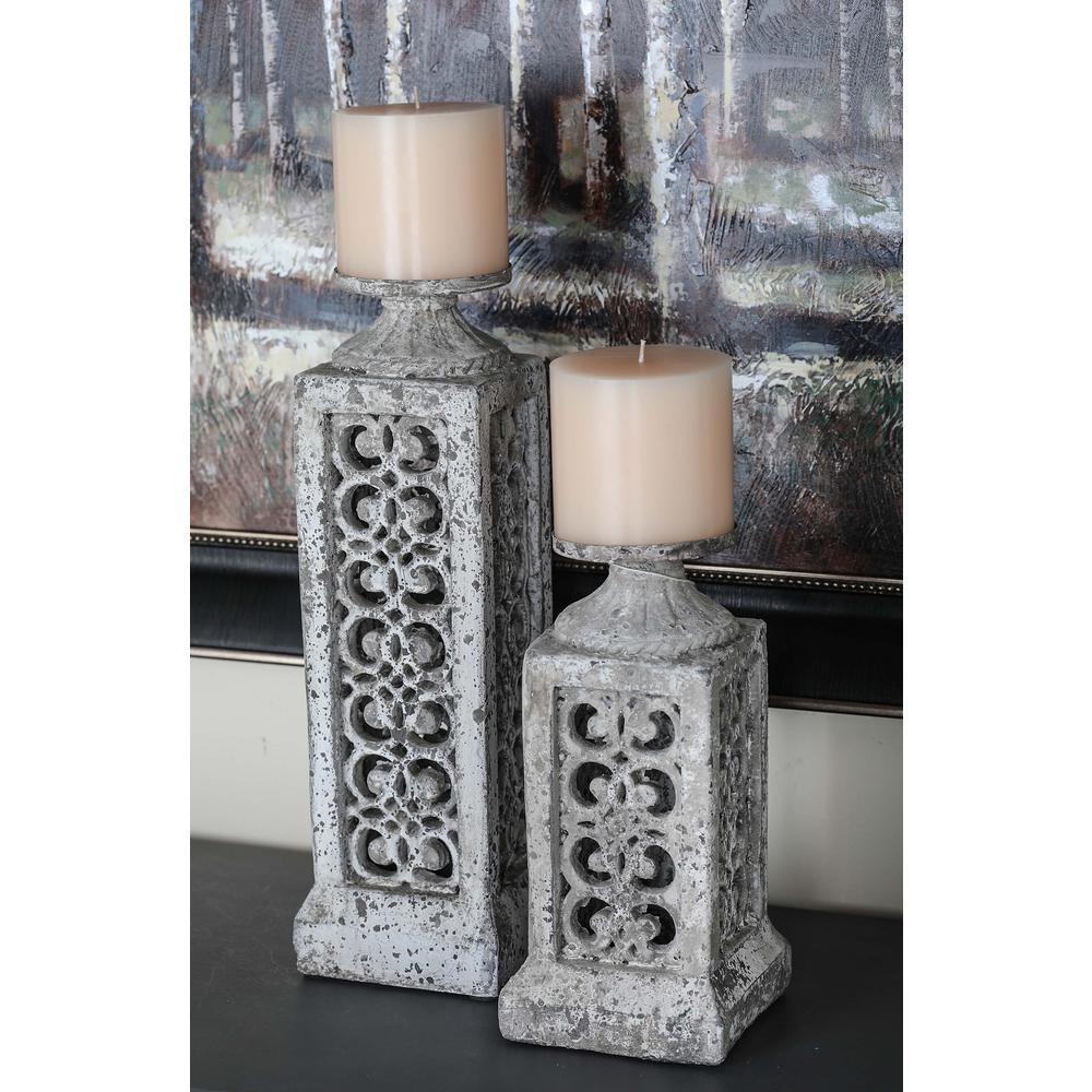 White Ceramic Candle Holders (Set of 2)
