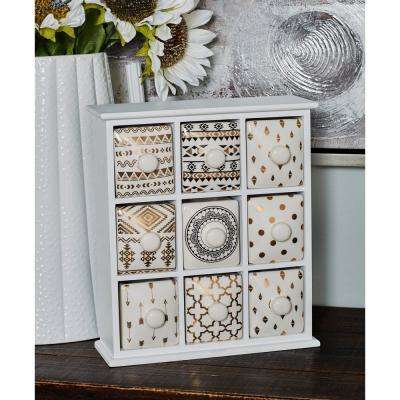 White Rectangular 9-Drawer Jewelry Chest with Black and Gold Accents