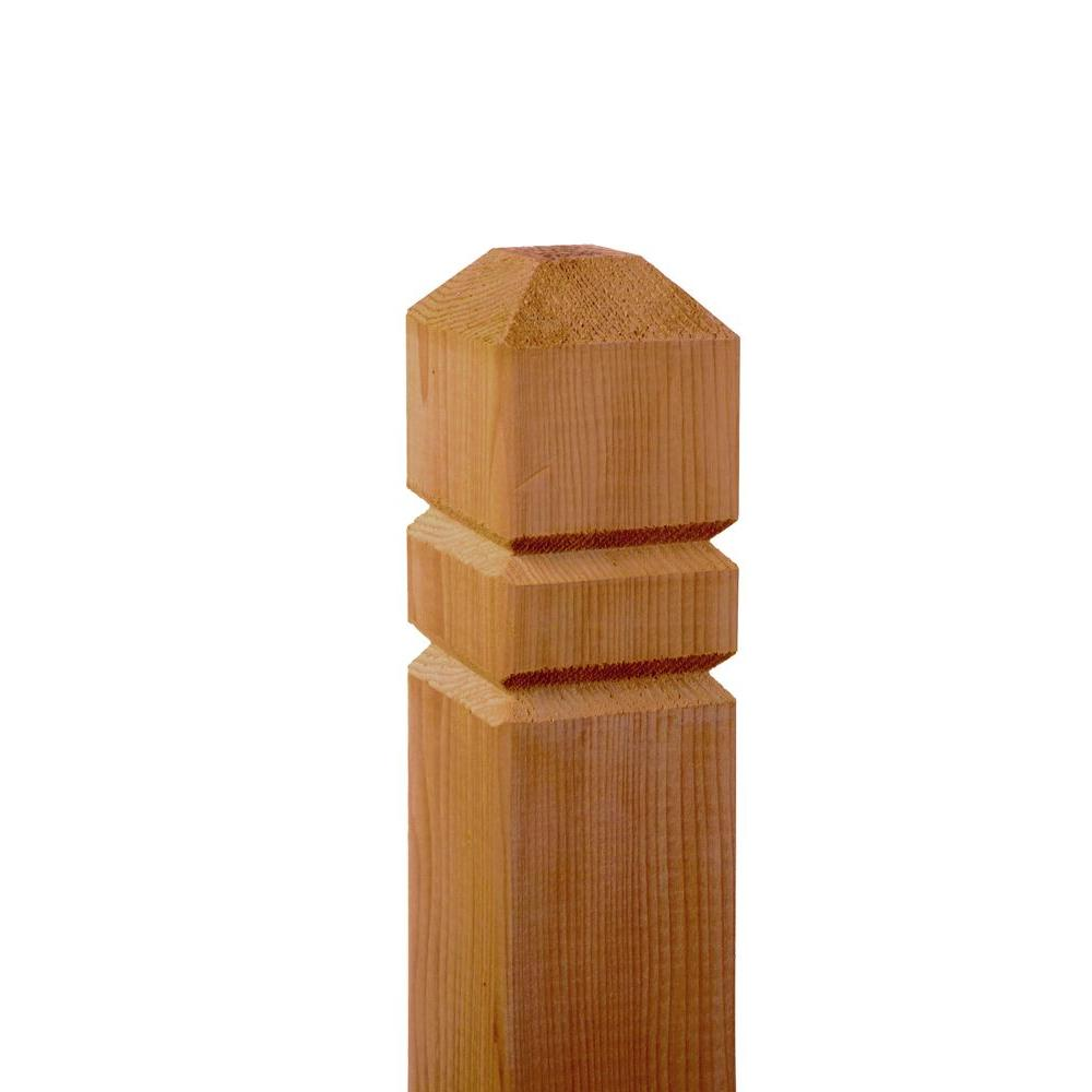 4 in. x 4 in. x 4-1/2 ft. Cedar Double V-Groove