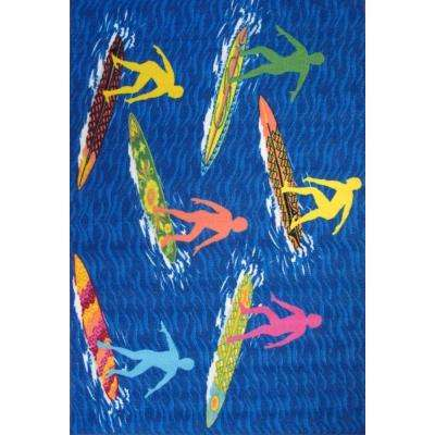 Surf Time Surfs R Us Multi Colored 39 in. x 58 in. Accent Rug