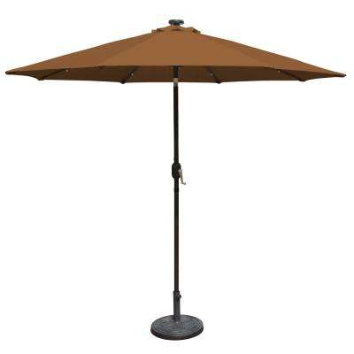Mirage Fiesta 9 ft. Market Solar LED Auto-Tilt Patio Umbrella in Stone Olefin