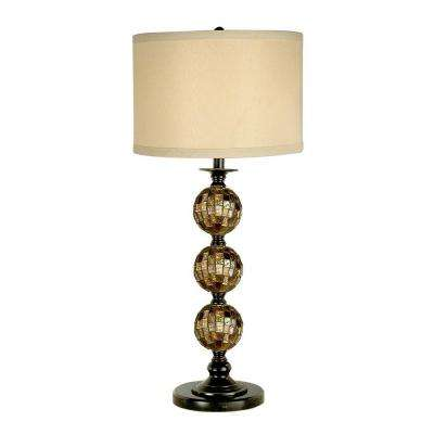 31 in. Mosaic 3 Ball Dark Antique Bronze Table Lamp with Art Glass Shade