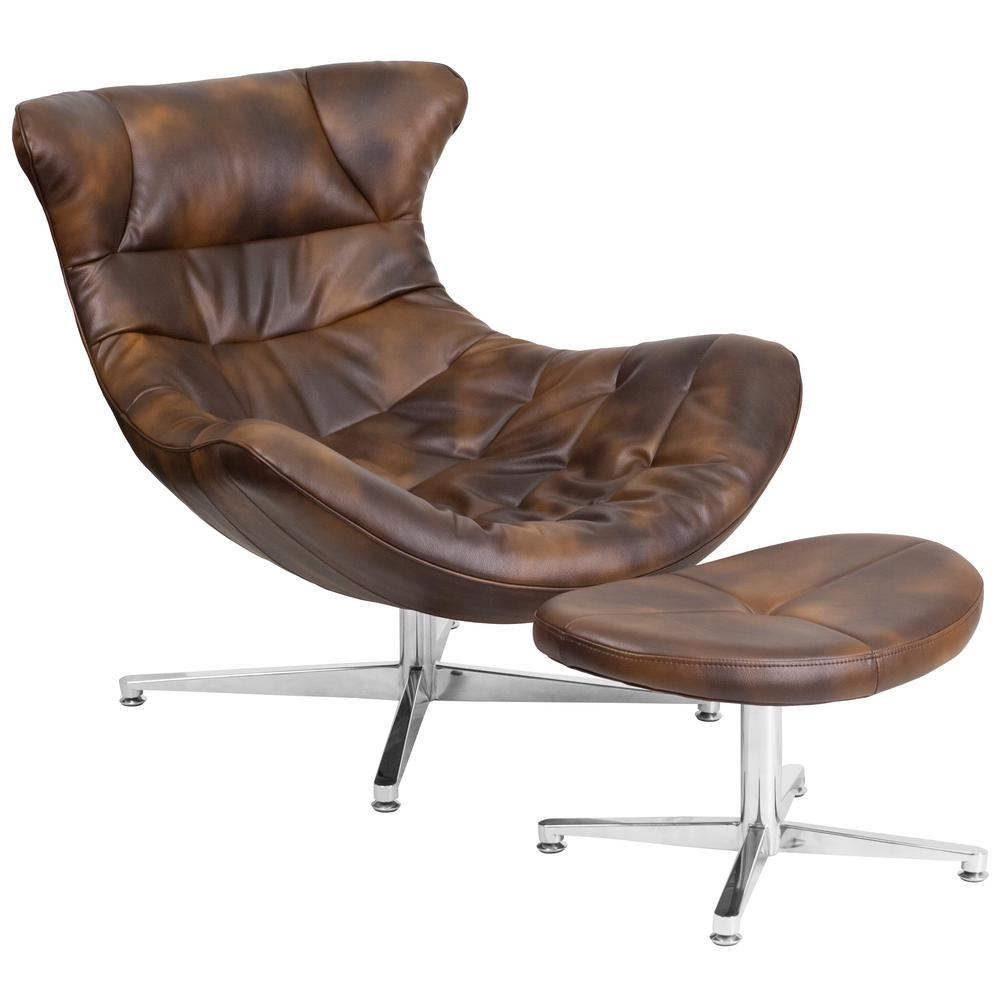 Flash Furniture Bomber Jacket Brown Leather Cocoon Chair With Ottoman ZB43COCOON    The Home Depot