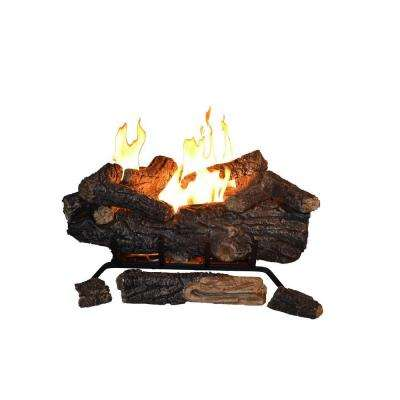 Savannah Oak 24 in. Vent-Free Propane Gas Fireplace Logs with Remote