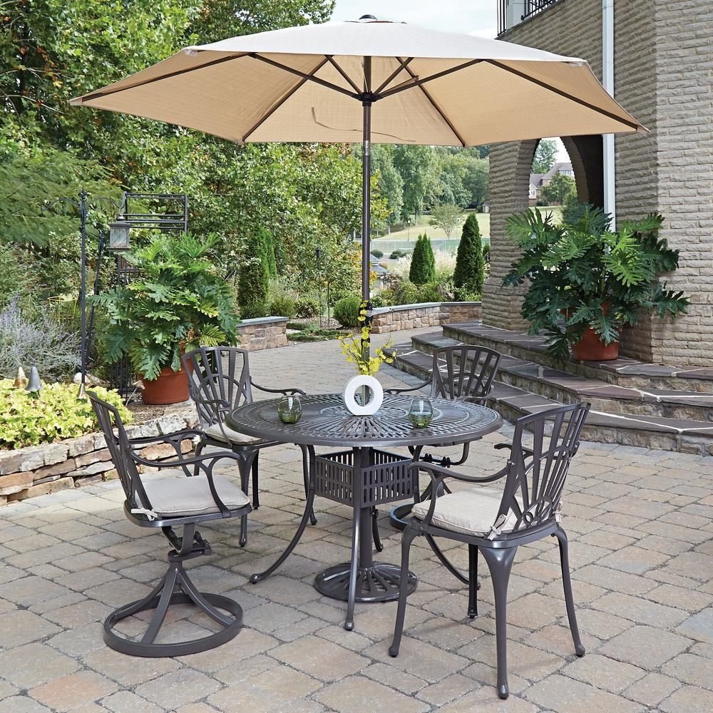 Home Styles Largo 5 Piece Patio Dining Set With Umbrella And Cushions