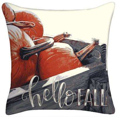 16 in. x 16 in. x 5 in. Hello Fall Toss Pillow