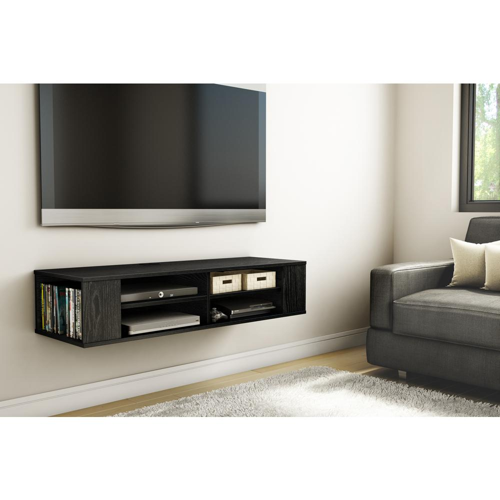 South S City Life 50 Disk Capacity Wall Mounted Media Console In Black Oak