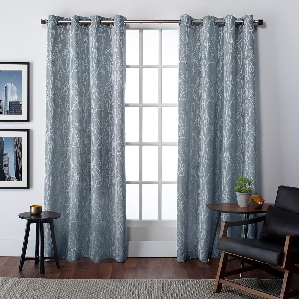 Finesse 54 in. W x 96 in. L Jacquard Grommet Top Curtain Panel in