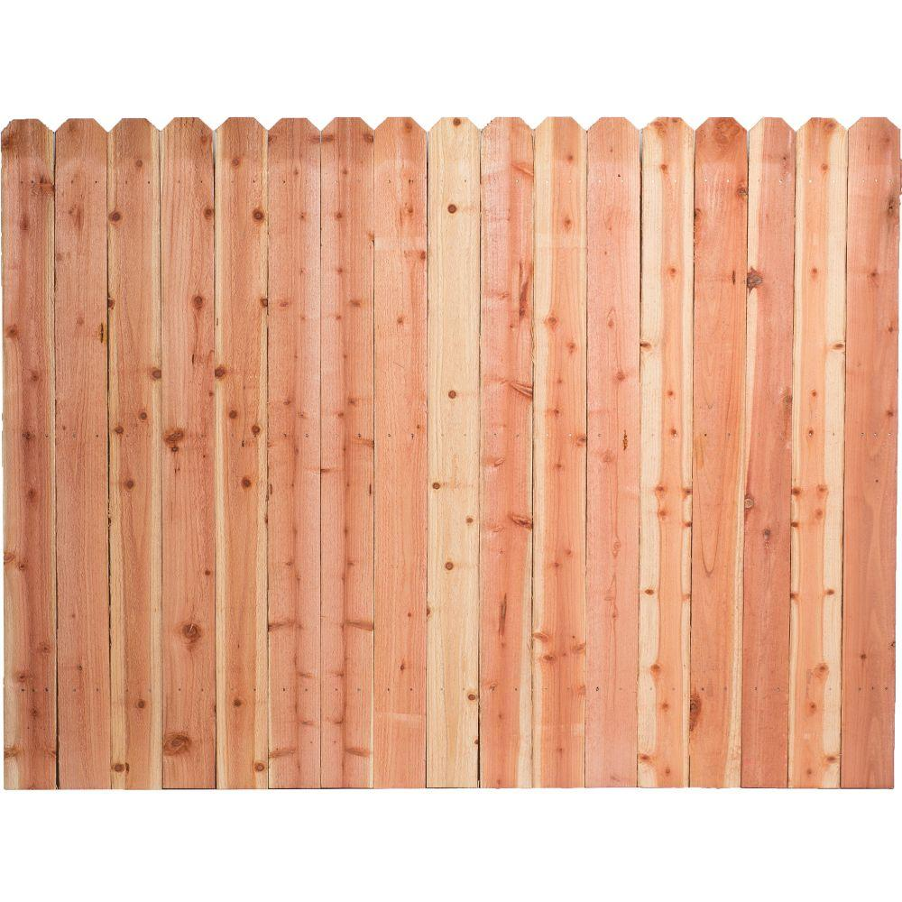 null 6 ft. H x 8 ft. W Construction Common Redwood Dog-Ear Fence Panel