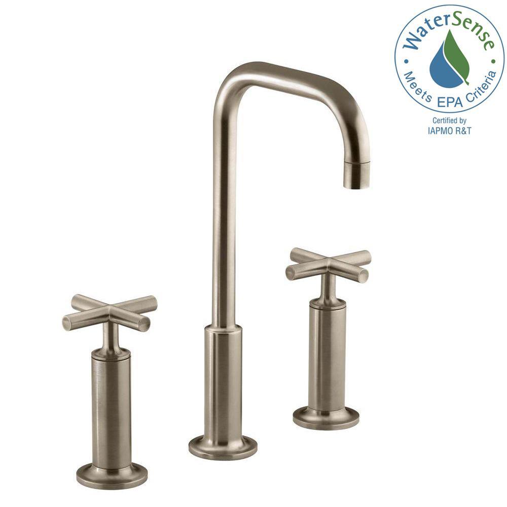 KOHLER Purist 8 in. Widespread 2-Handle Mid-Arc Bathroom Faucet in ...