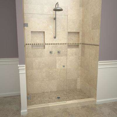 2300V Series 78 in. W x 76 in. H Frameless Pivot Shower Door in Brushed Nickel with Knobs