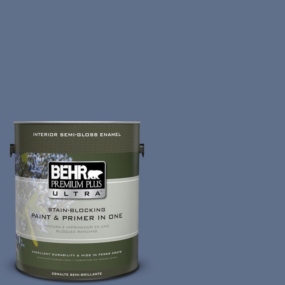 BEHR Premium Plus Ultra 1-gal. #600F-6 Atlantic Blue Semi-Gloss Enamel Interior Paint