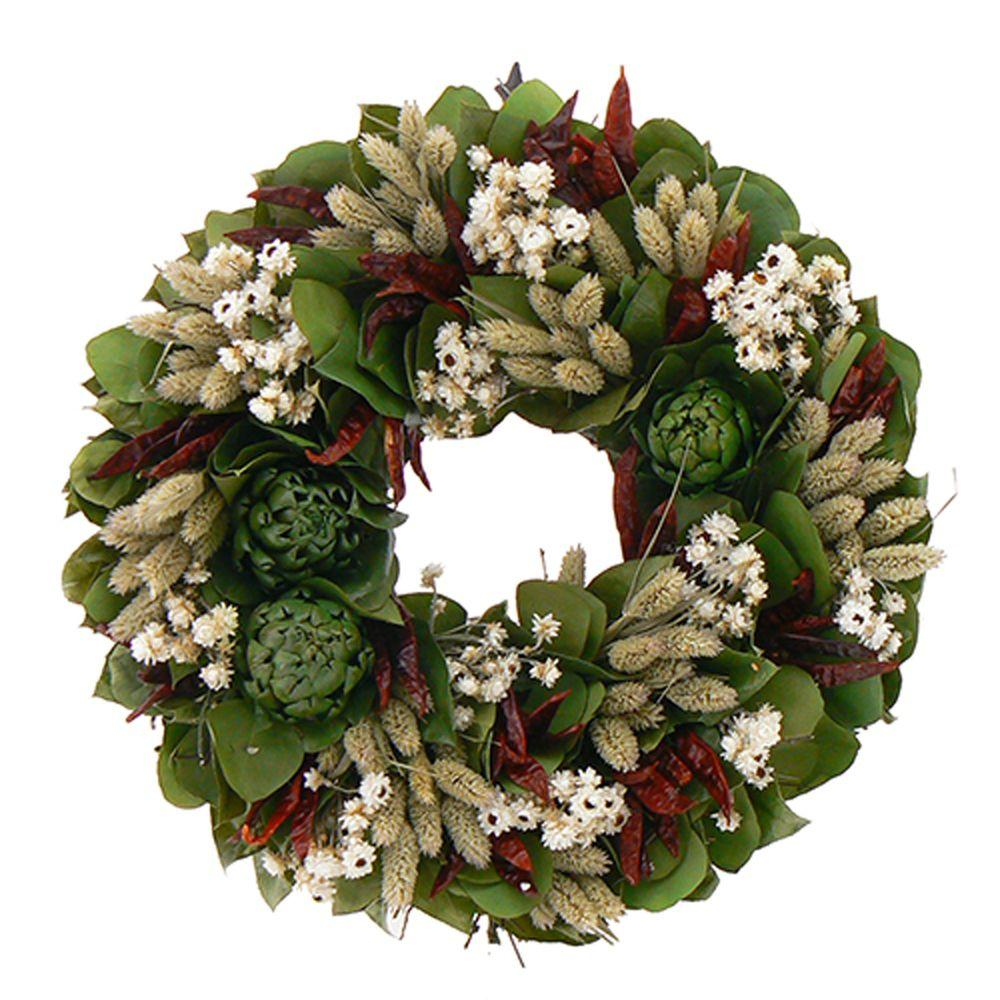 The Christmas Tree Company Zesty Chili and Mixed Herb 16 in. Dried Floral Wreath-DISCONTINUED