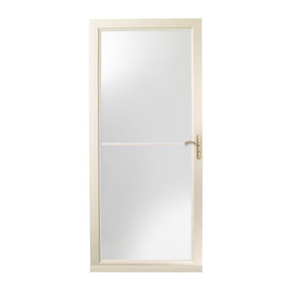 36 in. x 80 in. 3000 Series Almond Right-Hand Self-Storing Easy Install Aluminum Storm Door with Brass Hardware