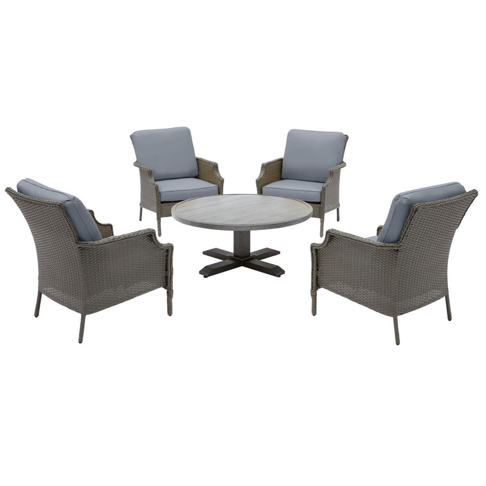 Hampton Bay Grayson Ash Gray 5-Piece Wicker Outdoor Patio Conversation Seating Set with CushionGuard Steel Blue Cushions was $599.0 now $379.0 (37.0% off)