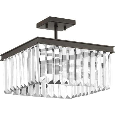 Glimmer Collection 2-Light Antique Bronze Semi-Flush Mount