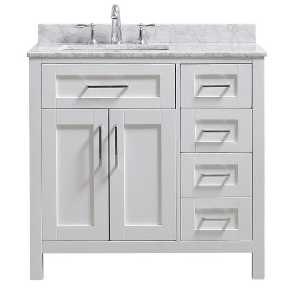 Riverdale 36 in. W x 21 in. D Vanity in White with a Carrara Marble Vanity Top in White with white Sink